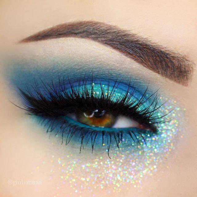 Blue Glitter Face Paint Tears