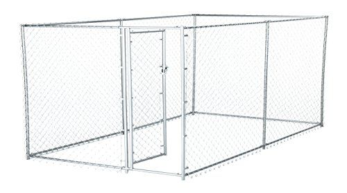 awesome Chain Link Dog Kennel - Lucky Dog Outdoor Heavy Duty Pet Kennel - This Pet Cage System is Perfect For Containing Small Dogs and Animals. Galvanized chain link doesn't kink or tangle. Two setup options (5'W x 10'L x 4'H or 8'W x 6.5'L x 4'H)