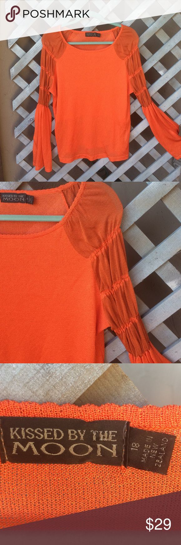 VIBRANT ORANGE LONG SLEEVE TOP! This unique TOP was purchased in New Zealand! RAYON/POLYAMIDE&CELLULOSE make this top COMFY and STRETCHY! Pretty sleeves! Bra lining! SOO PRETTY! In great condition! KISSED BY THE MOON Tops
