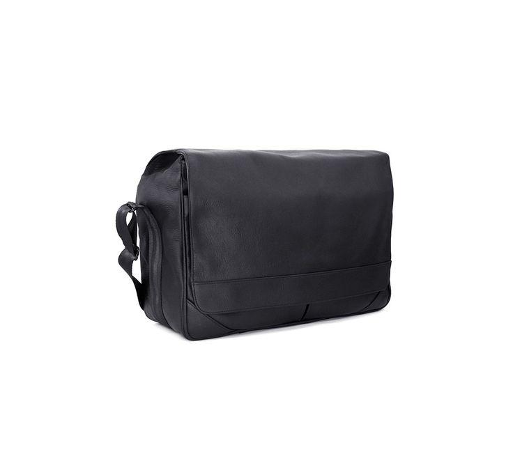 Lambert - Montana Black Leather Messenger Bag with Padded Camera Insert 12L