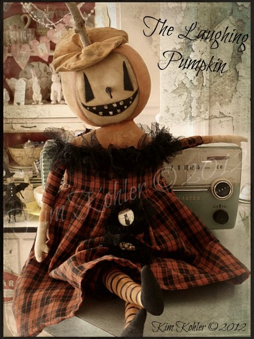 Veenas Mercantile Vintage Style Halloween Doll  ~ a happy ghostlike pumpkin doll... patterns available
