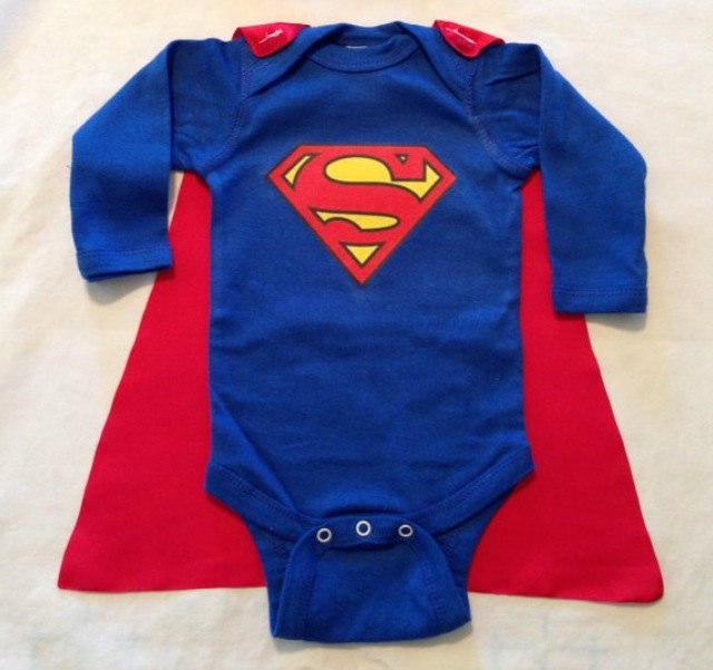 Superhero onesie or tshirt with matching cape marvel by MarCuties, $25.00