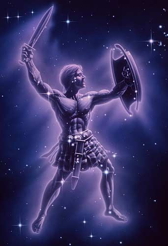 Orion- Greek myth: a great huntsman that fell in love with Artemis, the hunter goddess. She accidentally killed him while he was swimming in the ocean because someone challenged her to hit the moving target out in the water, which was Orion. Zeus took pity and made him into a constellation.
