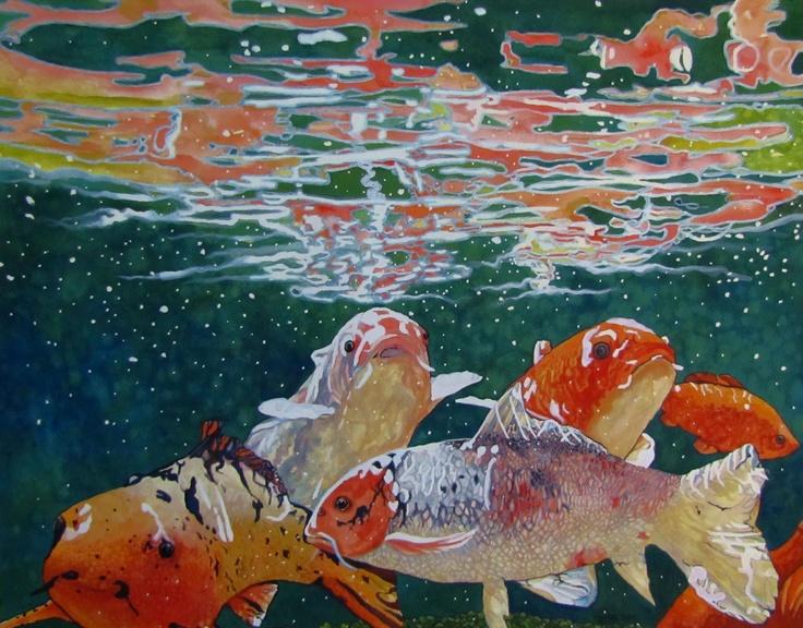 25 best art rhonda anderson 39 s paintings drawings for Fake koi fish