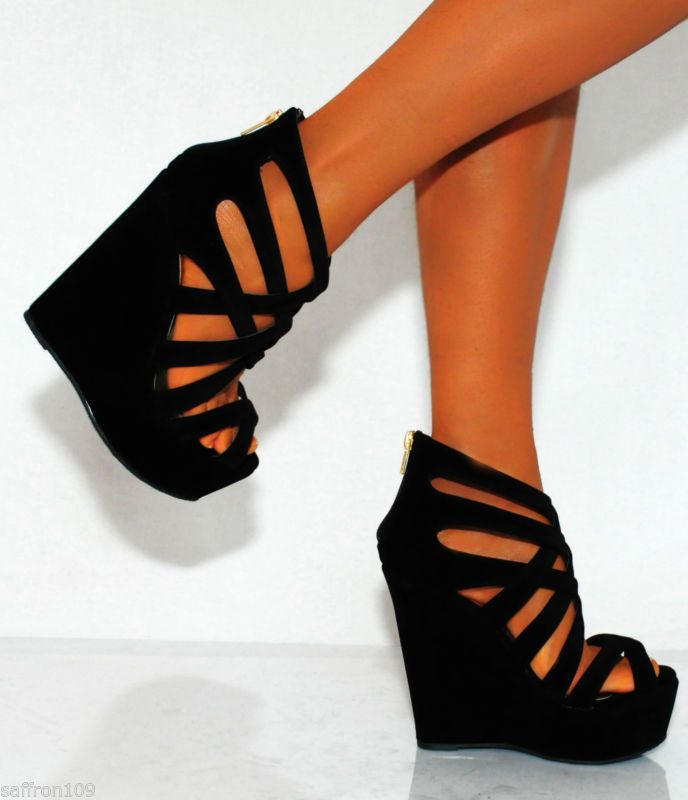 BLACK NUDE BEIGE WEDGED WEDGES SUMMER STRAPPY SANDALS PLATFORMS HIGH HEELS SHOES from saffron109 on eBay. Saved to Things I want as gifts. #blackwedge #love #wedges #heels #stripes #theseheelstho #lovethem.