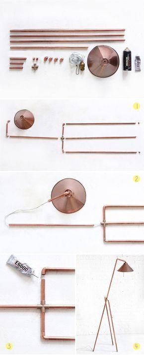 3 DIY usando canos de cobre - Luminária de piso 1 - Bangalô da Tati