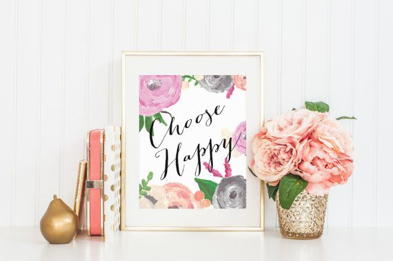 8x10 Choose Happy  Hand-painted Flowers Instant by FloraAndFont