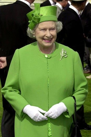 QE II, June 2003, in the garden of Buckingham Palace, during one of her annual tea parties for 8000.