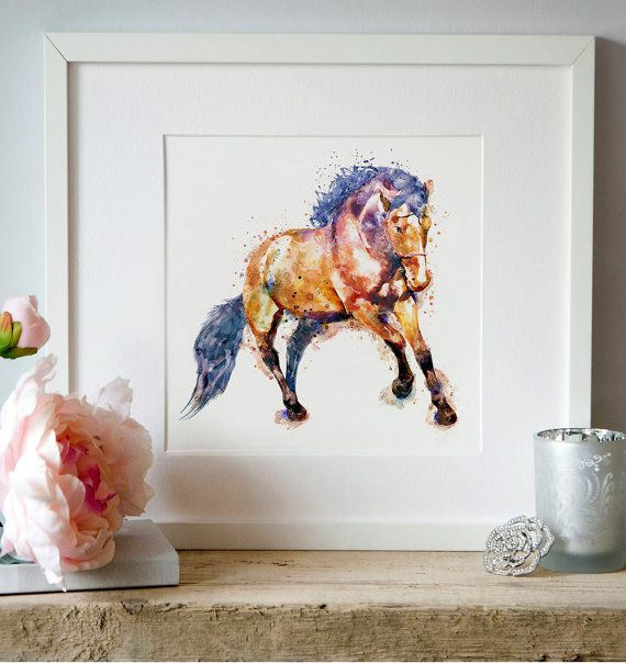 Horse Watercolor painting Aquarelle Horses by Artsyndrome on Etsy