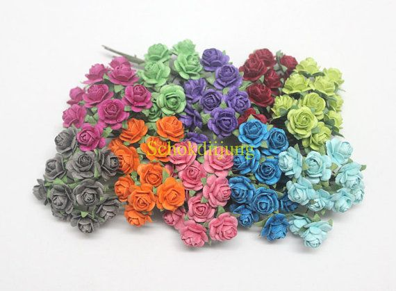 100 Mixed 10 colour Mulberry Paper Roses Artificial Flower With wire stem 1 cm scrapbook,Wedding AA1