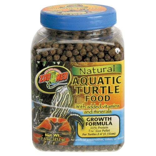 Aquatic Turtle Food - Pellet - 7.5 oz.  | Zoo Med's Aquatic Turtle Food is a low protein, floating pellet food for all types of aquatic turtles like Red Ear Sliders, Painted, Spotted, Asian Aquatic Box type, Sidenecks, etc. The low protein food helps prevent abdominal shell deformities that a high protein food would cause over a long period of time.