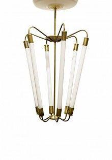 Unieke Hanglamp, 6 TL buizen in koperen armatuur