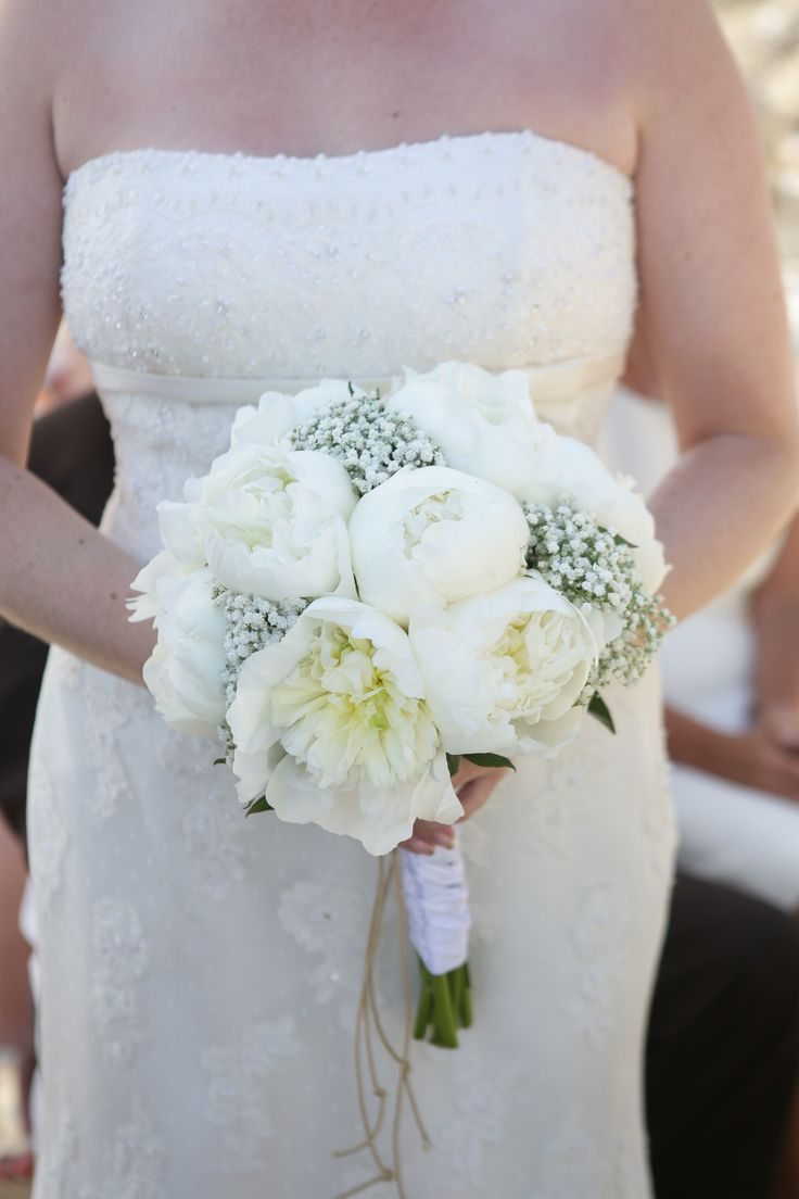 Pretty peonies and baby breath bouquet