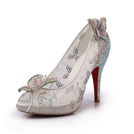 beautiful transparent lace Cinderella wedding shoes
