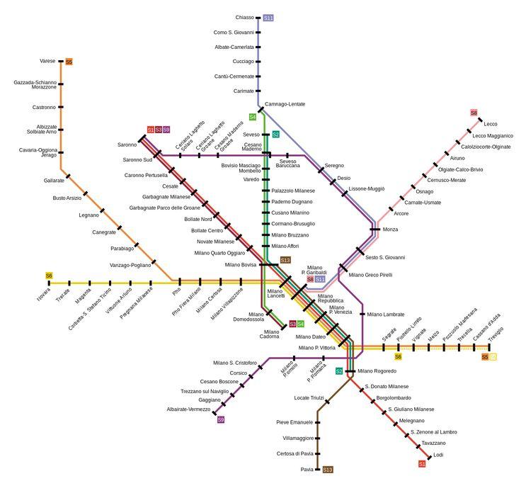 Suburban railway network map #Milan