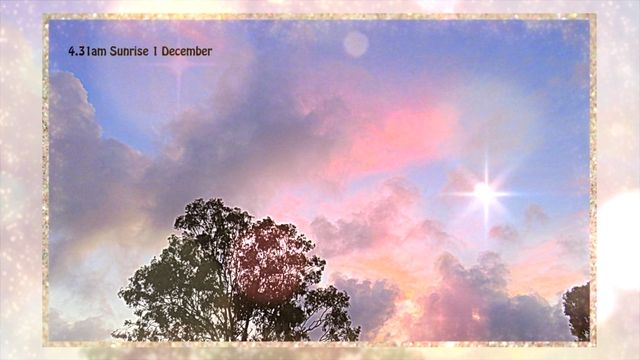 A soft gentle sunrise starts the morning and bursts into fiery clouds to greet the new day