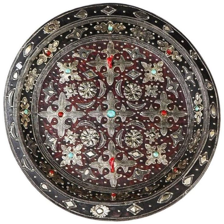 Decorative Ancient Leather Wall Plate or Charger | From a unique collection of antique and modern platters and serveware at https://www.1stdibs.com/furniture/dining-entertaining/platters-serveware/