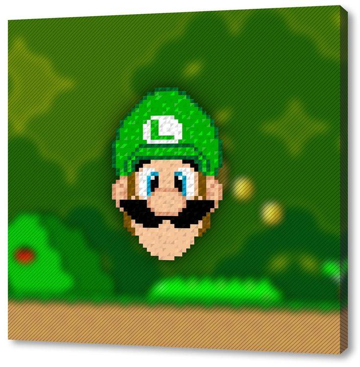 Super Mario Format: 70x70cm, Leinwandbild Auf Holzrahmen Gespannt,  Leinwandbild, 1A Qualität Zu
