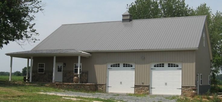 Pictures of stone veneer siding on metal buildings for Metal building garage apartment