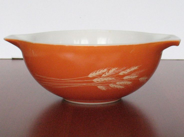 PYREX AUTUMN HARVEST Wheat Orange Cinderella Nesting Bowl  # 443 2.5 Qt Vintage  #Pyrex