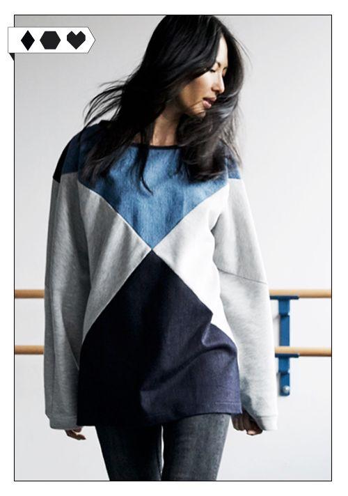 Bridge & Tunnel Sweater DERYA: Aus DenimPre-Consumer Waste und Baumwoll-Sweat (GOTS zertifiziert, von Lebenskleidung) Mehr Fair Fashion gibts auf sloris.de!