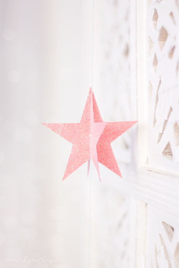 Pink glittery star
