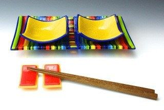 5 Piece Fused Glass Sushi Set by FusionsofGlass on Etsy, $110.00