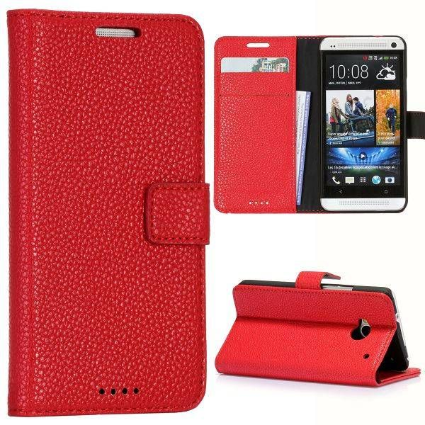Rood lychee bookcase hoesje voor HTC One m7