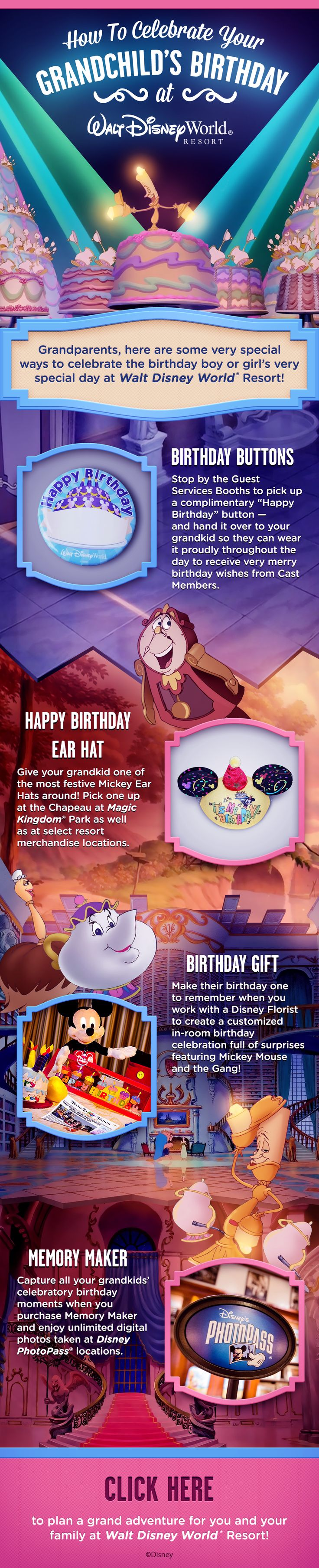 Make you Grandchild's birthday extra special during your Walt Disney World vacation with these special Disney birthday touches like Mickey Birthday Ears, Memory Maker from PhotoPass, and a birthday button!