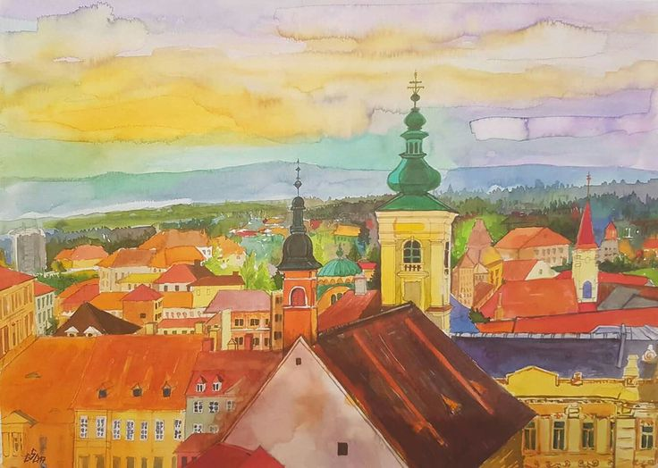 """Over the City 1"",Watercolor by Gabriela Calinoiu, Romanian painter.  www.picturipeisaje.wordpress.com"