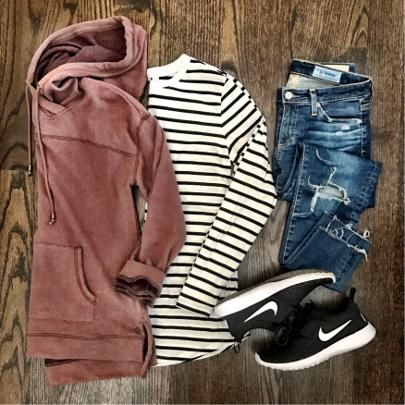 IG @mrscasual <click through to shop this look> sweatshirt hoodie, striped tunic tee, nike juvenate, casual weekend outfit idea.