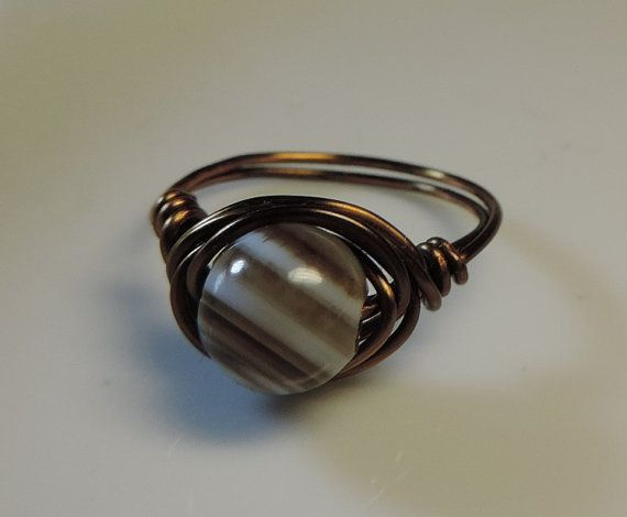 Wire ring antique style wire agate bead by alcpcreations on Etsy