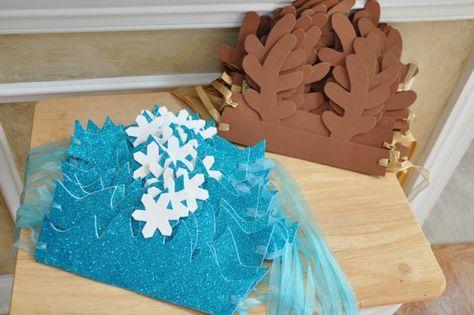 Frozen Birthday Party Foam Hats Elsa Glitter Snowflake Crown Sven Reindeer Antlers Tie On Headpiece 12 Total - 6 of Each