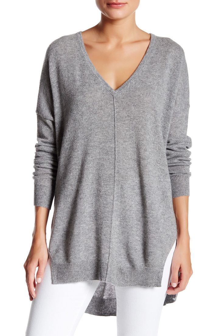 Cozy Grey Autumn Cashmere Slashed V-Neck Cashmere Sweater