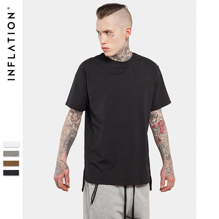 INFLATION 2017 Summer New Style Men's Solid Men's Extended Tees Cheap Streetwear Tshirt //Price: $24.28 & FREE Shipping //     #DRONES