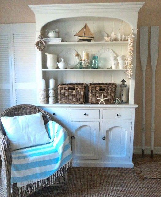 white hutch like shelf displayBeach House Decorating | {Beach Cottage Decor} Shabby Beachy Chic | http://nauticalcottageblog.com