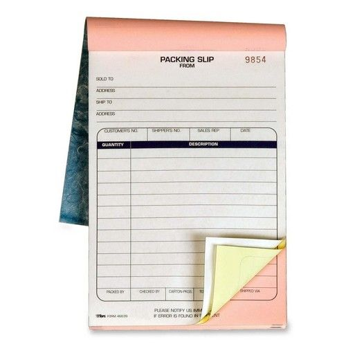 Packing Slip Book, 5-1 2 x 7-7 8, 3-Part Carbonless, 50 Sets Book - packing slip