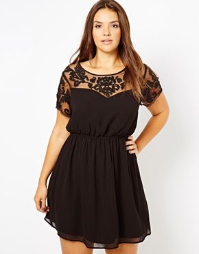New Look Inspire Embroidered Mesh Insert Plus size Dress