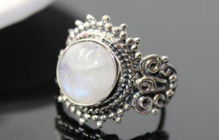 Piedra+De+La+Luna+plata+Anillo+de+Joyas+de+piedras+preciosas+por+DaWanda.com