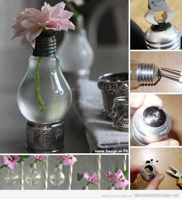Manualidades decorar boda barata, bombillas antiguas como jarrón de flores
