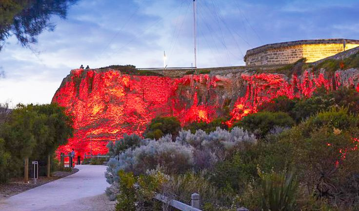 Take a stroll on a balmy summer evening and enjoy the view: Bathers Beach Fremantle Cliff Uplighting.