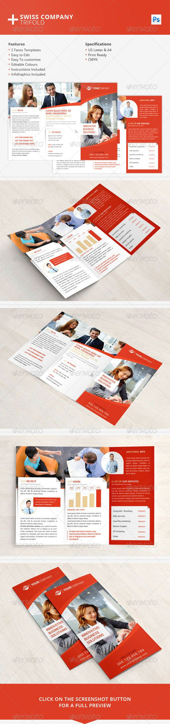 Swiss Company Trifold - Brochures Print Templates