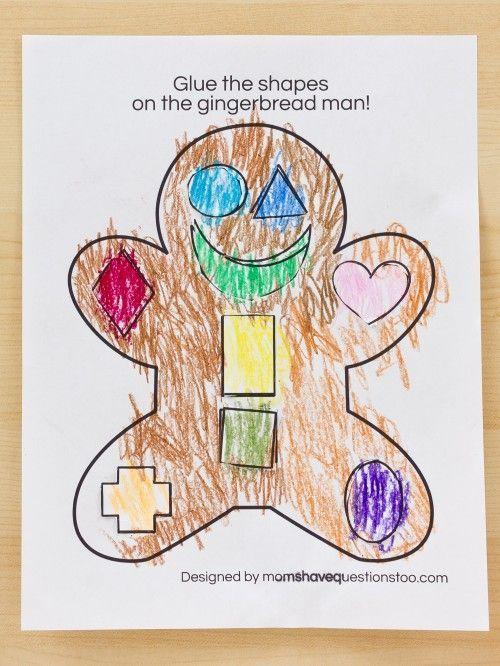 Gingerbread Man Cut and Paste Preschool Activity {FREE printable}