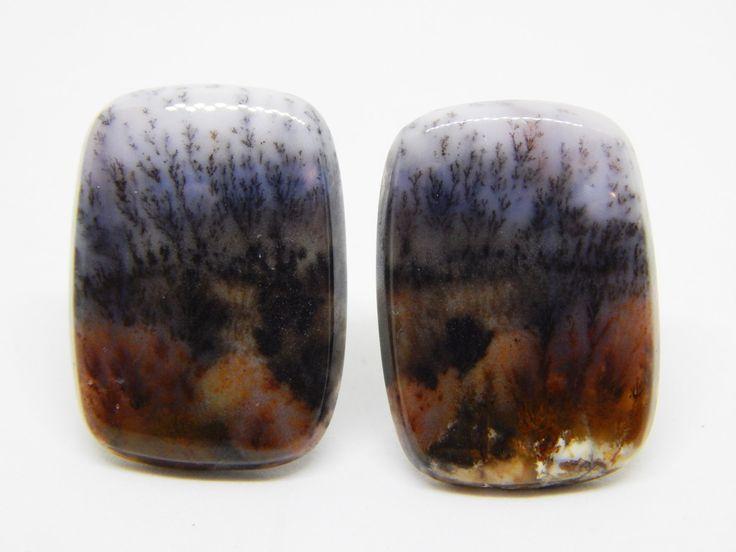 Agata dendritica coppia cabochon rettangolo 25 x 18 mm . Agata con paesaggio. Set di cabochon per orecchini. di HELGASHOP su Etsy