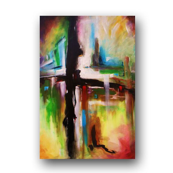 Cross Painting Abstract Painting Original Painting on Canvas Contemporary Art Modern Art Spiritual Art 36x24 by Heather Day.