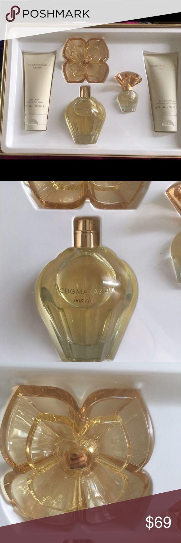 BCBGMaxazria Bon Chic perfume set Sealed in box. 3.4 fl. Oz Eau de parfum natural spray. 3fl oz body lotion. 3 fl oz bath and shower gel. .25 Felix Eau de parfumerie natural spray BCBGMaxAzria Makeup