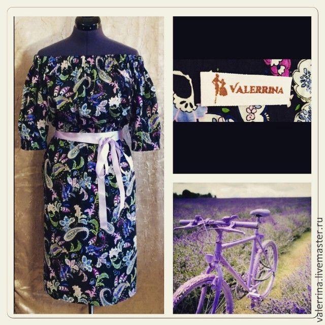 """Купить Платье с открытыми плечами """"Барышня-крестьянка"""" - разноцветный, платье из хлопка, платье открытое"""