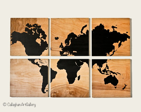 Wood grain world map screen print. A potentially great addition to the studio. :)