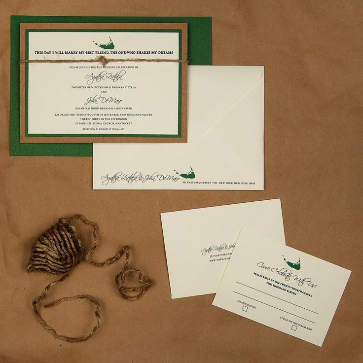 3 Layer Invite, Recycled Paper, Green Metallic Paper, White Linen Paper,  Rope. Modern InvitationsWedding ...