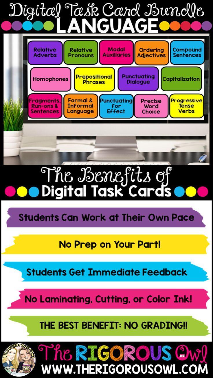 Grammar And Language Digital Task Cards Google Forms Task Cards